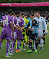 Joe Jacobson of Wycombe Wanderers leads the pre match handshakes during the Sky Bet League 2 match between Wycombe Wanderers and Plymouth Argyle at Adams Park, High Wycombe, England on 12 September 2015. Photo by Andy Rowland.