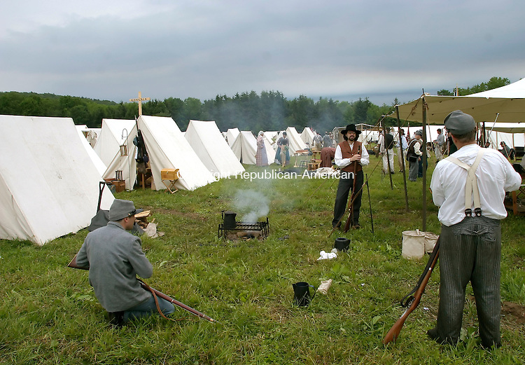 GOSHEN, CT--17 JUNE 2006 -061706JS23- Sonfederate soldiers in camp during the Civil War encampment in Goshen. The reenactment depicts the Jackson Valley Campaign.  -- Jim Shannon Republican-American
