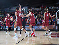 STANFORD, CA - March 2, 2019: Jaylen Jasper, Jordan Ewert, Stephen Moye, Kyle Dagostino, Paul Bischoff at Maples Pavilion. The Stanford Cardinal defeated BYU 25-20, 25-20, 22-25, 25-21.