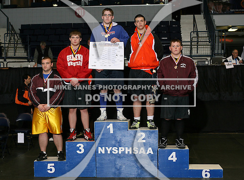 Dustin Frederick (1st - Ausable Valley); Art Garvey (2nd - East Aurora); Mike Raplee (3rd - Geneva); Dan Ladd (4th - Schuylerville); Chris Pike (5th - Sherburne Earlville); Austin Lee (6th - Cato Meridan) pose on the podium for the Division Two 285 weight class during the NY State Wrestling Championship finals at Blue Cross Arena on March 9, 2009 in Rochester, New York.  (Copyright Mike Janes Photography)