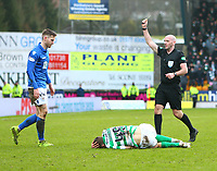 1st March 2020; McDairmid Park, Perth, Perth and Kinross, Scotland; Scottish Premiership Football, St Johnstone versus Celtic; Jamie McCart of St Johnstone is yellow carded for a foul on James Forrest of Celtic