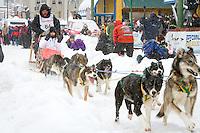 Art Church Jr. leaves the 2011 Iditarod ceremonial start line in downtown Anchorage, during the 2012 Iditarod..Jim R. Kohl/Iditarodphotos.com