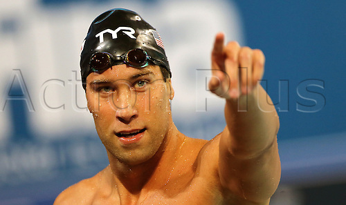 13.12.2012 Istanbul, Turkey. Matthew Grevers of US reacts after winning the men's 100m backstroke final during the World Short Course Swimming Championships in Istanbul.