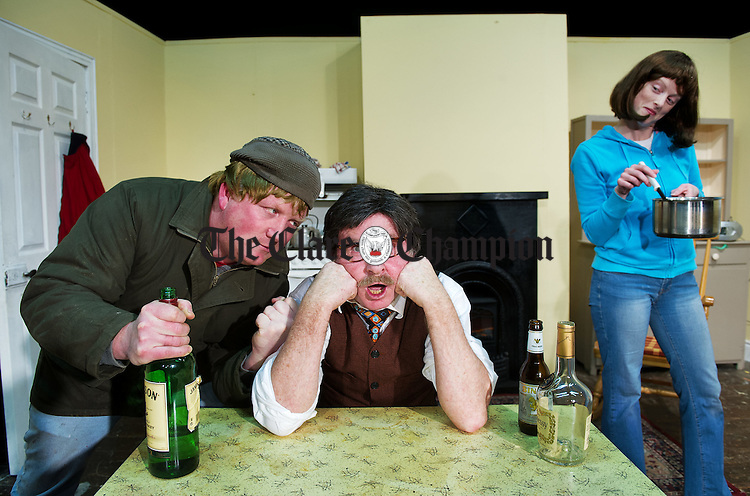 Anthony Morrissey as Sean, Gregory Rynne as Martin and Brid Hanrahan as Mary in rehearsals for the Mullagh Entire drama group's production of Pretend Sick which runs on 18th, 25th and  26th of February in the local hall. Photograph by John Kelly.