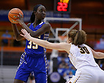 RAPID CITY, SD - MARCH 18, 2017 -- Sebastian Akoi #35 of Sioux Falls O'Gorman holds the ball away from Harrisburg defender Jeniah Ugofsky #30 during the 2017 South Dakota State Class AA Girls Basketball Championship game Saturday at Barnett Arena in Rapid City, S.D.  (Photo by Dick Carlson/Inertia)
