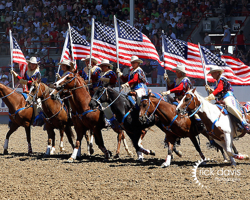 The Greeley Independence Stampede Riders entertaining rodeo fans with a patriotic 4th of July theme at the annual Greeley Independence Stampede Rodeo on July 4, 2008 in Greeley, Colorado.