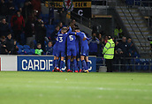 1st December 2017, Cardiff City Stadium, Cardiff, Wales; EFL Championship Football, Cardiff City versus Norwich City; Cardiff City players celebrate as Omar Bogle of Cardiff City goal puts them ahead 3-1
