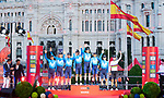 Cyclist of Movistar Team receive the best team mallot on the podium of the last Stage of La Vuelta 2019 . September 15, 2019. (ALTERPHOTOS/Francis Gonzalez)