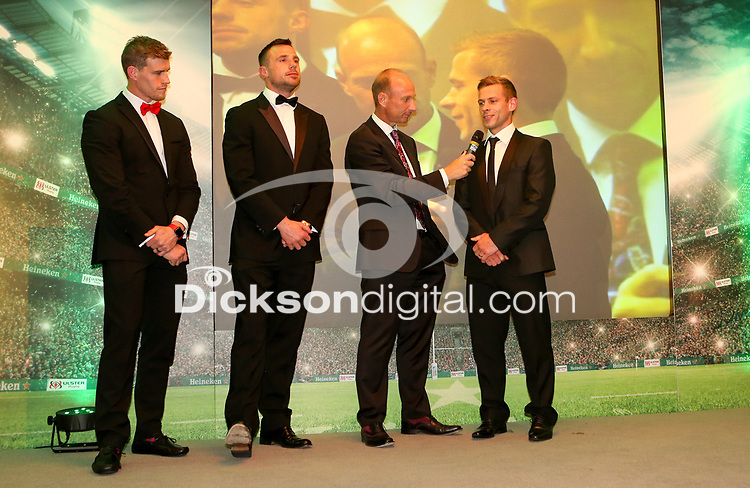 Thursday 10th May 2018 | Ulster Rugby Awards 2018<br /> <br /> Stephen Watson interviews retiring player Paul Marshall, during the 2018 Heineken Ulster Rugby Awards at La Mom Hotel, Belfast. Photo by John Dickson / DICKSONDIGITAL