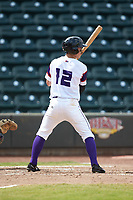J.J. Muno (12) of the Winston-Salem Rayados at bat against the Potomac Nationals at BB&T Ballpark on August 12, 2018 in Winston-Salem, North Carolina. The Rayados defeated the Nationals 6-3. (Brian Westerholt/Four Seam Images)