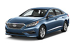2016 Hyundai Sonata Eco 4 Door Sedan Angular Front stock photos of front three quarter view