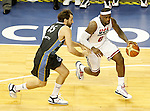 USA's LeBron James (r) and Argentina's Federico Kammerichs during friendly match.July 22,2012. (ALTERPHOTOS/Acero)