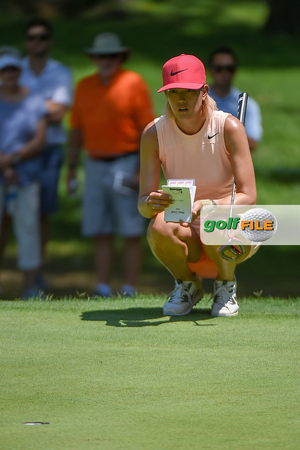 Michelle Wie (USA) lines up her putt on 2 during round 4 of the U.S. Women's Open Championship, Shoal Creek Country Club, at Birmingham, Alabama, USA. 6/3/2018.<br /> Picture: Golffile | Ken Murray<br /> <br /> All photo usage must carry mandatory copyright credit (© Golffile | Ken Murray)