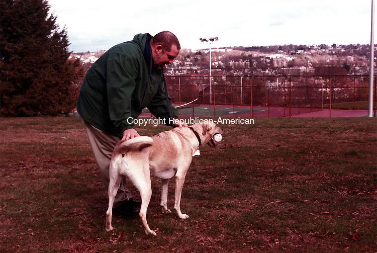Waterbury,CT 11/27/98  1127TC01.tif<br />Jack Dowling w/dog buddy.<br />Terry Corcovan photo