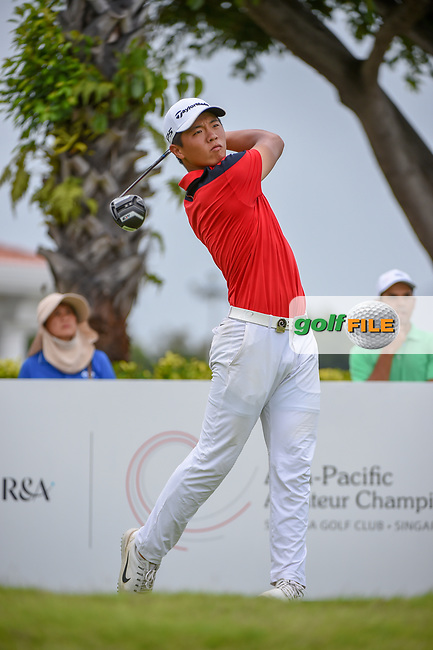 Andy ZHANG (CHN) watches his tee shot on 12 during Rd 4 of the Asia-Pacific Amateur Championship, Sentosa Golf Club, Singapore. 10/7/2018.<br /> Picture: Golffile | Ken Murray<br /> <br /> <br /> All photo usage must carry mandatory copyright credit (© Golffile | Ken Murray)