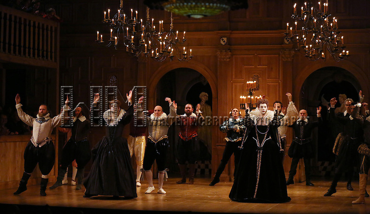 Joseph Timms, Paul Chahidi, Mark Rylance and Samuel Barnett with the cast during at the Broadway Opening Night Performance Curtain Call for 'Richard III' at the Belasco Theatre on November 10, 2013 in New York City.