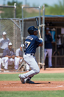 Milwaukee Brewers left fielder LG Castillo (57) follows through on his swing during an Instructional League game against the San Diego Padres at Peoria Sports Complex on September 21, 2018 in Peoria, Arizona. (Zachary Lucy/Four Seam Images)