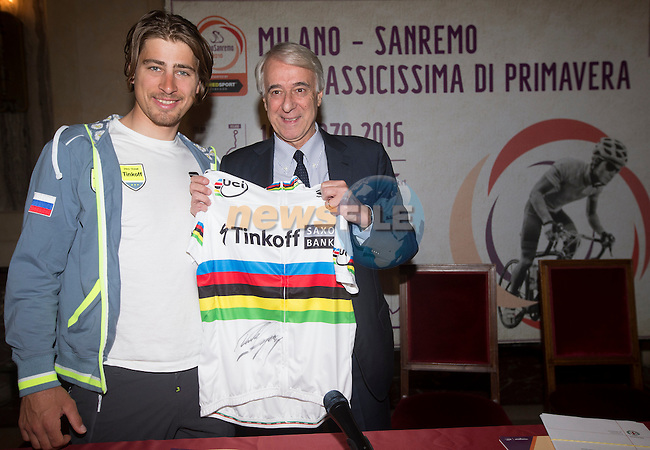 World Champion Peter Sagan (SVK) Tinkoff and Milan's Mayor Giuliano Pisapia during the presentation of Milano-San Remo cycling race at Palazzo Marino in Milan, 18 March 2016.<br /> Picture: ANSA/CLAUDIO PERI | Newsfile<br /> <br /> <br /> All photos usage must carry mandatory copyright credit (© Newsfile | Claudio Peri)