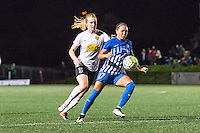 Allston, MA - Saturday Sept. 24, 2016: Samantha Mewis, Kyah Simon during a regular season National Women's Soccer League (NWSL) match between the Boston Breakers and the Western New York Flash at Jordan Field.