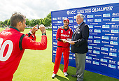 ICC World T20 Qualifier - GROUP B MATCH - Afghanistan v Oman at Heriots CC, Edinburgh - one for the family back home as Oman's Mehran Khan is awarded Man of the match by Bob McFarlane, Board Member Cricket Scotland — credit @ICC/Donald MacLeod - 15.07.15 - 07702 319 738 -clanmacleod@btinternet.com - www.donald-macleod.com
