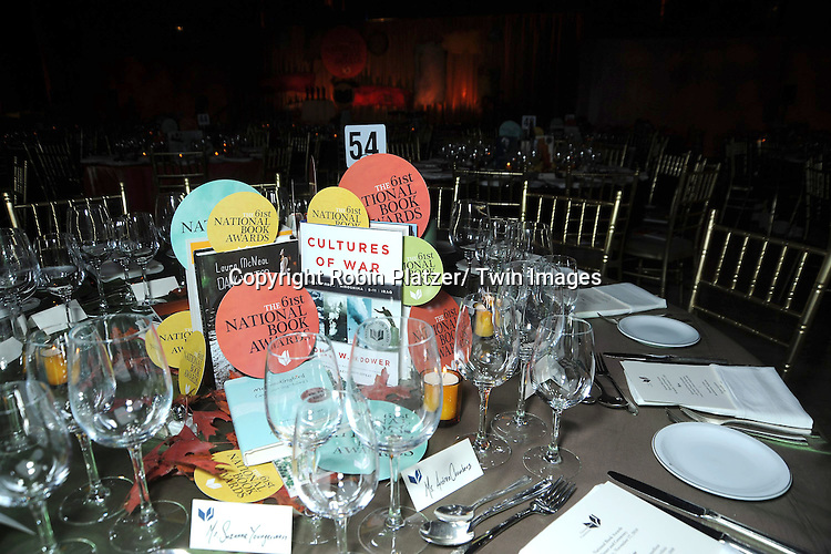 The centerpiece attending The 2010 National Book Awards on November 17, 2010 at Cipriani Wall Street in New York City.