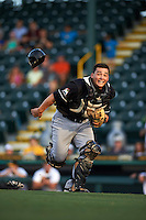 Jupiter Hammerheads catcher Chris Hoo (8) tries to make a play on a foul ball popup during a game against Bradenton Marauders on August 4, 2015 at McKechnie Field in Bradenton, Florida.  Jupiter defeated Bradenton 9-3.  (Mike Janes/Four Seam Images)