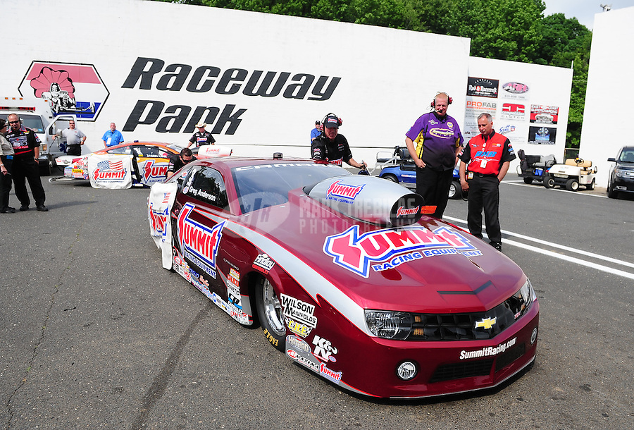 Jun. 1, 2012; Englishtown, NJ, USA: NHRA pro stock driver Greg Anderson during qualifying for the Supernationals at Raceway Park. Mandatory Credit: Mark J. Rebilas-