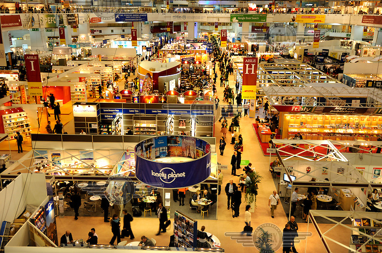 Main hall of London Book Fair, one of the largest industry gatherings, held annually at London's Earl's Court.