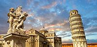 View of the Romanesque Leaning Tower of Pisa, the Bell tower, Piazza del Miracoli , Pisa, Italy