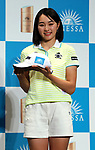May 28, 2018, Tokyo, Japan - Japanese female professional golfer Momoka Miura displays her cap as she is sponsored by Japanese cosmetics giant Shiseido at a press conference at Shiseido's headquarters in Tokyo on Monday, May 28, 2018. She signed a sponsorship contract with Shiseido's sunblock brand Anessa on may 28.   (Photo by Yoshio Tsunoda/AFLO) LWX -ytd-