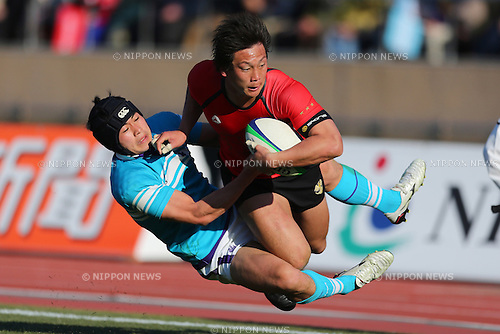 L to R Kenki Fukuoka (Tsukuba), Yoshizumi Takeda (Teikyo), .January 13, 2013 - Rugby: .The 49th All Japan University Rugby Championship Final .match between Teikyo University 39-22 Tsukuba University .at National Stadium, Tokyo, Japan. .(Photo by Daiju Kitamura/AFLO SPORT) [1045]