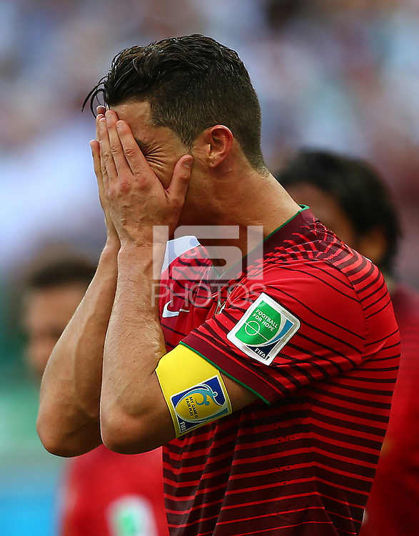Cristiano Ronaldo of Portgual shows a look of dejection