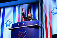 Washington, DC - March 25, 2019: U.S. Senator Chuck Schumer, Senate Democratic Leader, greets the audience before speaking at the 2019 AIPAC Policy Conference held at the Washington Convention Center, March 25, 2019.  (Photo by Don Baxter/Media Images International)