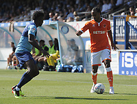 Blackpool's Nathan Delfouneso takes on Wycombe Wanderers' Anthony Stewart<br /> <br /> Photographer Kevin Barnes/CameraSport<br /> <br /> The EFL Sky Bet League One - Wycombe Wanderers v Blackpool - Saturday 4th August 2018 - Adams Park - Wycombe<br /> <br /> World Copyright &copy; 2018 CameraSport. All rights reserved. 43 Linden Ave. Countesthorpe. Leicester. England. LE8 5PG - Tel: +44 (0) 116 277 4147 - admin@camerasport.com - www.camerasport.com
