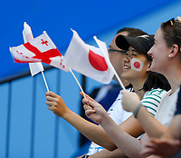 6th January 2020; RAC Arena, Perth, Western Australia; ATP Cup Australia, Perth, Day 4; Japan versus Georgia; A Japanese supporter in the crowd waves her flag in support - Editorial Use