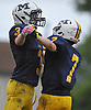Michael DeDonato #3, left, and Garrett Gibbons #7 after a defensive stop on fourth down gave the ball back to the Chiefs in the third quarter of a Nassau County Conference I varsity football game against Farmingdale at Massapequa High School on Saturday, Oct. 8, 2016. Farmingdale won by a score of 45-42.