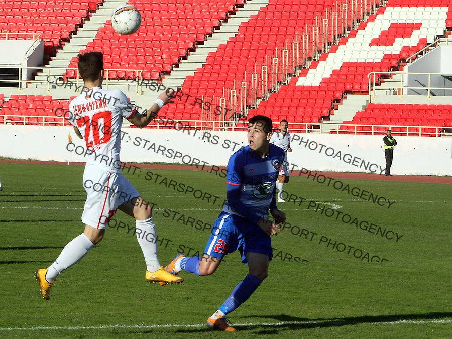 Fudbal Super liga season 2015-2016<br /> Radnicki (Nis) v Borac<br /> Radnicki Anton Zemlyanukhin, Borac Dusan Jovancic<br /> Nis, 1.11.2015.<br /> foto: Sasa Djordjevic/Starsportphoto &copy;