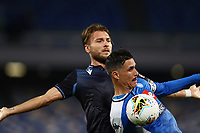 1st August 2020; Stadio San Paolo, Naples, Campania, Italy; Serie A Football, Napoli versus Lazio; Jose Maria Callejon of Napoli challenges Ciro Immobile of SS Lazio for the high pass forward