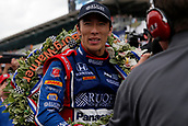 May 28th Indianapolis Speedway, Indiana, USA;  Indycar driver Takuma Sato (26) of Andretti Autosport takes a victory lap after winning  during the 101st running of the Indianapolis 500 on May 28, 2017, at the Indianapolis Motor Speedway in Indianapolis, Indiana.