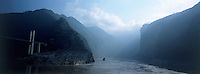 The entrance of Qutang Gorge on the Yangzi river which is being flooded 130 meters deep starting 2002 by Three Gorges Dam.