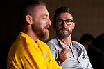 Daniele De Rossi (L) and coach Eusebio Di Francesco of Roma during press conference the day before Champions League match between Real Madrid and Roma at Santiago Bernabeu Stadium in Madrid, Spain. September 18, 2018. (ALTERPHOTOS/Borja B.Hojas)