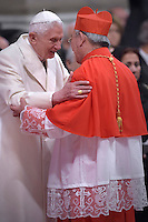 Cardinal Pierre Nguyen Van Nhon, archbishop of Hanoi, Vietnam,  Pope Benedict XVI,during a consistory for the creation of new Cardinals at St. Peter's Basilica in Vatican.February 14, 2015