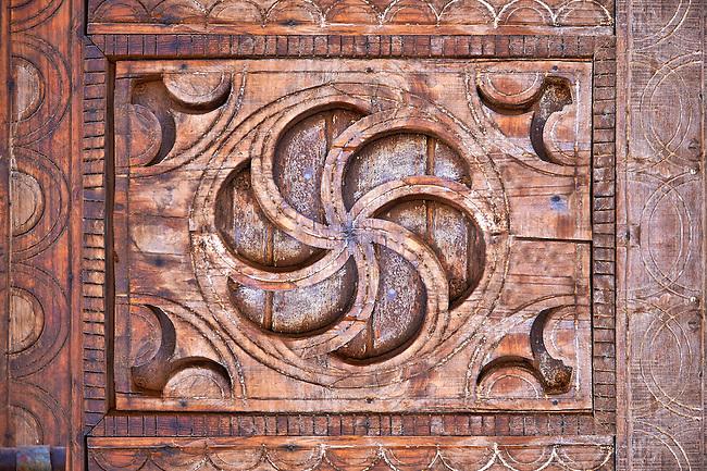 Berber design wooden door panel, Tamedaght, Morroco.