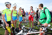 24 APR 2011 - NICE, FRA - British team members (from the left) David Bishop, Lucy Chittenden, Lucy Smith (all Triathlon Olympique Club Cesson Sevigne), Lucy Hall (Brive Limousin) and Mark Buckingham (Mulhouse Olympique Triathlon) talk before the start of the first round of the men's 2011 French Grand Prix triathlon series .(PHOTO (C) NIGEL FARROW)