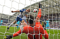 Neal Maupay of Brighton and Hove Albion scores the first goal as Hugo Lloris of Tottenham Hotspur injures himself during Brighton & Hove Albion vs Tottenham Hotspur, Premier League Football at the American Express Community Stadium on 5th October 2019