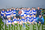 SHIELD: Reggie Griffin of Coise na nO?g Chiarrai? who presented Ryan Delaney capt of the Ardfert under 16s with the Coise na nO?g shield as they defeated Lixnaw in by 2-19- to 1-3 in the Coise na nO?g Chiarrai?, u16 County Hurling Championship Final in Ballyheigue on Tuesday evening. Front l-r: Padraig O'Connor,Jack Savage,Daniel Finnegan, Brendan O'Connor,Ryan Duggan, Aidan Healy,Eric Leen and Mike McCarthy (trainer). Back l-r: Tim Hannafin, Padraig Casey, Fionan Mackessy, James Lyne, Kevin Shanahan, Gearo?id Sheehan, Conor Thompson, Reggie Griffin (Coise na nO?g), Padraig Kearney, Ryan Delaney (capt), Fionn Kavanagh-Ennis, Kevin Hannafin, Eoghan Courtney, Jack Nevilinan, Patrick McElligott, John B O'Shea, Cian Hussey, Fiona?n Horgan and Paddy O'Connor.....