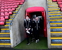Lincoln City's Lee Frecklington, left, Shay McCartan, centre and Tom Pett arrive at the ground<br /> <br /> Photographer Andrew Vaughan/CameraSport<br /> <br /> The EFL Sky Bet League Two - Crewe Alexandra v Lincoln City - Wednesday 26th December 2018 - Alexandra Stadium - Crewe<br /> <br /> World Copyright &copy; 2018 CameraSport. All rights reserved. 43 Linden Ave. Countesthorpe. Leicester. England. LE8 5PG - Tel: +44 (0) 116 277 4147 - admin@camerasport.com - www.camerasport.com
