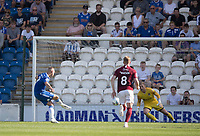 Luke Norris of Colchester United fires home the penalty, the only goal of the game during Colchester United vs Northampton Town, Sky Bet EFL League 2 Football at the JobServe Community Stadium on 24th August 2019