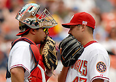 Washington, D.C. - July 4, 2007 -- Washington Nationals catcher  Jesus Flores (3), left, and pitcher Matt Chico (47), right, confer at the mound during second inning in the game against the Chicago Cubs RFK Stadium in Washington, D.C. on Wednesday, July 4, 2007.  The Nationals won the game 6 - 0..Credit: Ron Sachs / CNP