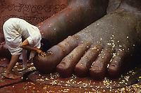 INDIA place Sravana Belagola state Karnataka , every 12 years the Jains celebrate the festival Mahamastakbisheka at the 55 feet high monolithic granite statue of Lord Bahubali and pour colored liquids and spices / INDIA Karnataka , Alle 12 Jahre feiern die Jainas das Festival Mahamastakbisheka in Shravana Belagola , die 17 Meter hohe Statue aus Granit ihres heiligen Bahubali oder Gommata oder Gomateshvara wird mit farbigen Fluessigkeiten Gewuerzessenzen Milch Puderzucker übergossen , Jains praktizieren als oberstes Gebot Gewaltverzicht ahimsa und sind strikte Vegetarier